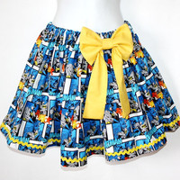 Batman Gathered Skirt Comic Book Retro Adult size by OhHoneyHush