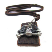 soft leather long necklace pirates pendant men by braceletcool