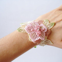 Pink and Apple Green Lace Bracelet Women accessories by bytugce
