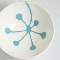ceramic bowl retro berries in robin's egg blue and by hopejohnson