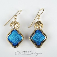 14k Gold Filled Dichroic Glass Earrings on Handmade Artists' Shop