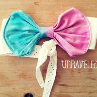 Bandeau bow bikini top Tie Dyed Size SMALL by UnraveledClothing