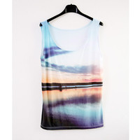 Sunset top  digitally printed by Bliissful on Etsy