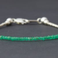 Emerald beaded bracelet with Karen Hill tribe silver by Filoe