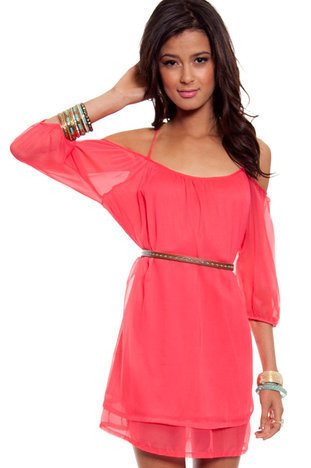 Amerie Off Shoulder Dress in Coral :: tobi