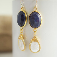 Lapis Earrings with Bezel Set Pearls by Jewels2Luv on Etsy