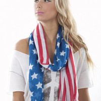 Multi Scarf/Shawl - Breezy American Flag Print Scarf | UsTrendy