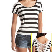 Charlotte Russe - Striped Crochet Back Tee