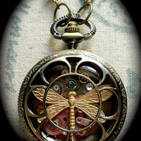 steampunkinspired queen dragonfly pocketwatch by twochixdesign
