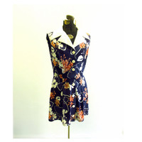 Vintage Mini Dress Navy Blue Floral White Pointed by ItchforKitsch