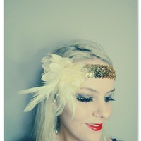1920s Cream And Gold Feather Flapper Headband Races | Luulla