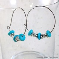 Blue Magnesite Niobium Hoop Earrings with Pewter Accents - Naturally Nickel Free
