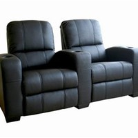 Home Theater Seating Row Of 2 Black, Black Home Theater Seats: Nyfurnitureoutlets.com
