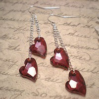 Swarovski Crystal Devoted 2 U Heart Earrings | NiteDreamerDesigns - Jewelry on ArtFire