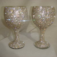 Etsy Transaction -        Custom designed handmade pair of wine glasses with Czech rhinestones