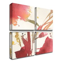 4-pc. ''Maroon Composition'' Canvas Wall Art Set by Sheila Golden