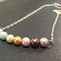Lovely multicolored pearl minimalist necklace by courtniefelicia