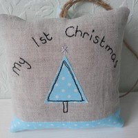 My First Christmas Lavender Scented Mini Hanging Pillow - Blue | Luulla