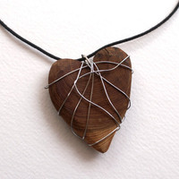 Heart Necklace Wooden Heart Wrapped in Silvertone by Rinnovato