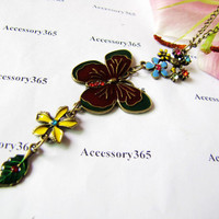 ancient necklace flowers pandent women chain long by braceletcool