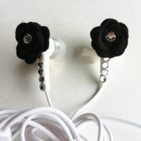 Black Felt Rose Earbuds with Swarovski Crystals by HoneyBadgerBuds