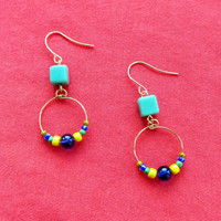 Blue Green and Yellow Summer Dangle Earrings by FantasyBeadDesigns