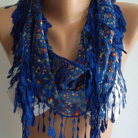 Blue Elegance Shawl with Lacy Edge by womann on Etsy
