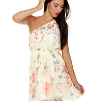 Cute Floral Dress - Cream Dress - One Shoulder Dress - &amp;#36;41.00