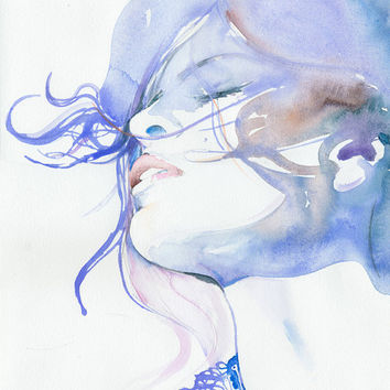 Watercolour Fashion Illustration Print by by silverridgestudio