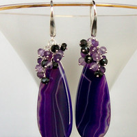 Grape Purple Agate Amethyst Black Spinel by estanciadesigns