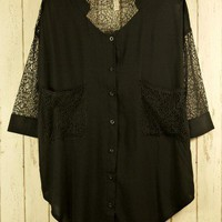 Best Lace Forward Shirt in Black - sale - Retro, Indie and Unique Fashion