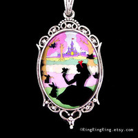 Snow White pendant Silver necklace Birds and by RingRingRing