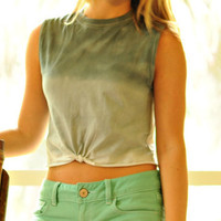 Grey Ombre Crop Top with Tie by MisceFabulous on Etsy