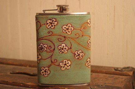 Ginger Pattern Leather Flask - Green, White and Brown | moxieandoliver - Housewares on ArtFire