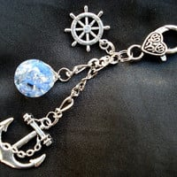 Nautical Anchor Fried Marble Rudder Sky Blue Love Keychain