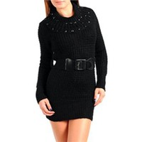 Black Knit Sweater Dress With Gemstone Detail & Belt