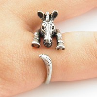 Silver Zebra Wrap Ring | KejaJewelry - Jewelry on ArtFire