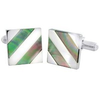 Polished Stainless Steel with Abalone Shell Inlay Cuff Links