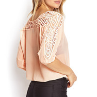 Crochet Lace Chiffon Top