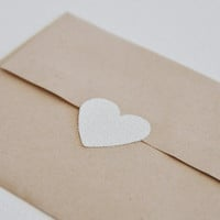 white glitter large heart stickers  (24 stickers)