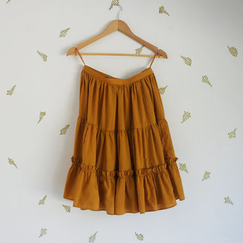 vintage 60s full skirt / mustard ochre goldenrod / tiered / ruffles / fall + winter / x-small / small