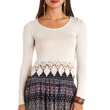 LONG SLEEVE CROCHET-TRIMMED CROP TOP