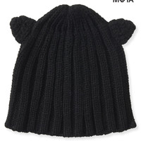 Ribbed Cat Ear Beanie