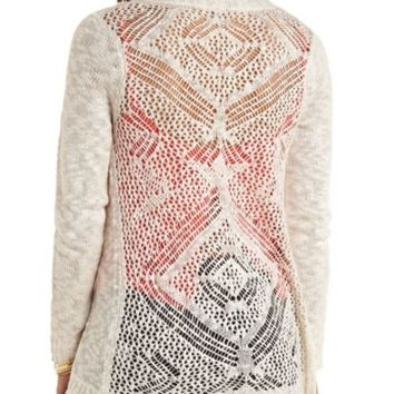 POINTELLE BACK SLUB CARDIGAN SWEATER