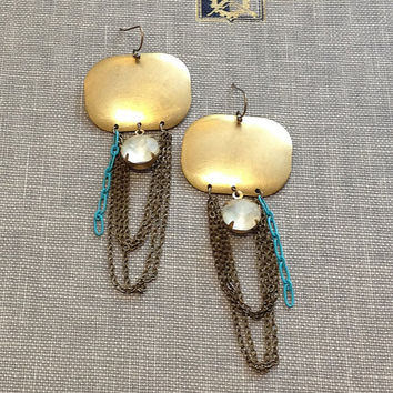 mixed metal chain fringe chandelier earrings with vintage glass rhinestones and aqua blue chain statement earrings boho chic gypsy style
