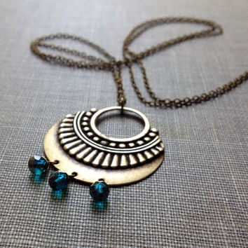 brass tribal shield and peacock blue glass bead long chain necklace // boho chic necklace // indian batik inspired jewelry