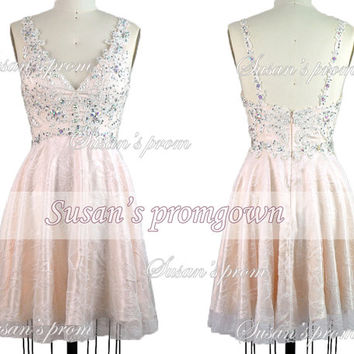 Homecoming dress,short prom dress,lace prom dress,bridesmaid dress,prom gown,cocktail dress