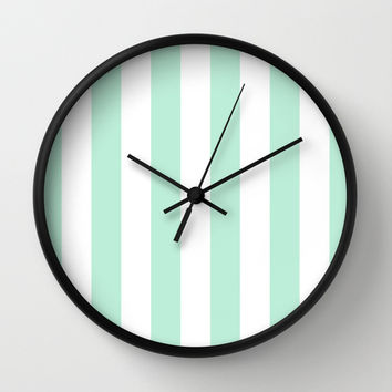 Stripe Vertical Mint Green Wall Clock by BeautifulHomes | Society6