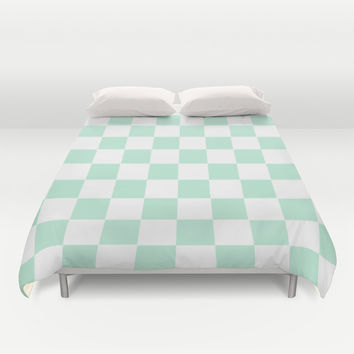 Checkers Square Mint Green Duvet Cover by BeautifulHomes | Society6