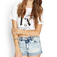 Cuffed Acid Wash Denim Shorts
